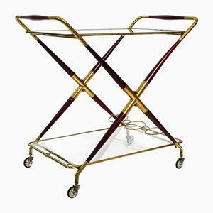 Italian Folding Brass and Glass Trolley by Cesare Lacca, 1950s