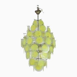 Mid-Century Deckenlampe mit gelben Glasscheiben