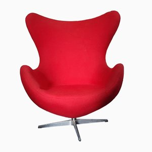 Vintage Red Swivel Armchair