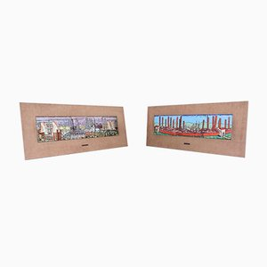 Enamelled Copper Paintings, Set of 2