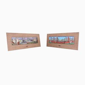 Gemälde aus emailliertem Kupfer, 2er Set