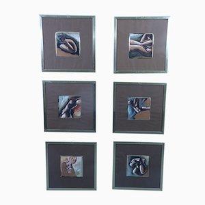 Framed Watercolors, Set of 6
