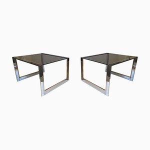 Metal & Glass Side Tables from Belgo Chrom / Dewulf Selection, 1970s, Set of 2