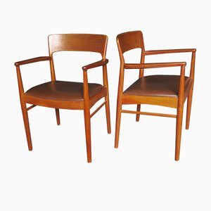 Mid-Century Danish Teak and Leather Carver Armchairs, Set of 2
