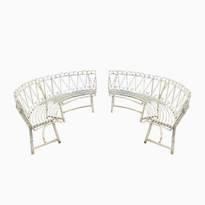 Mid-Century Garden Benches, Set of 2