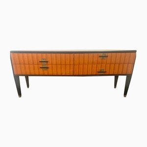 Zebrano & Rosewood Chest of Drawers with Gray Glass Top, 1958