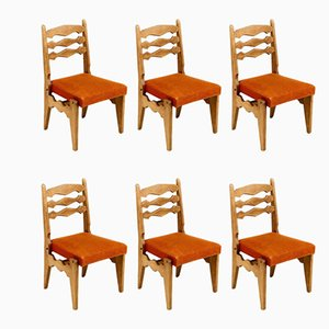 French Model Dumortier Dining Chairs by Guillerme & Chambron, 1950s, Set of 6