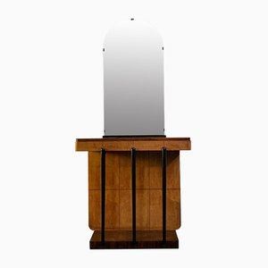Consolle in palissandro e acero con dettagli e specchio ebanizzati, anni '30, set di 2