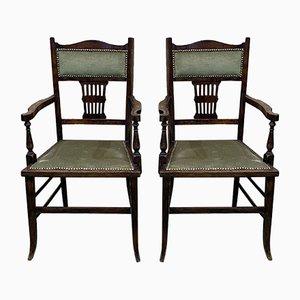 Englische Buchenholz Armlehnstühle, 1930er, 2er Set