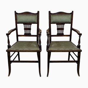 English Beech Armchairs, 1930s, Set of 2