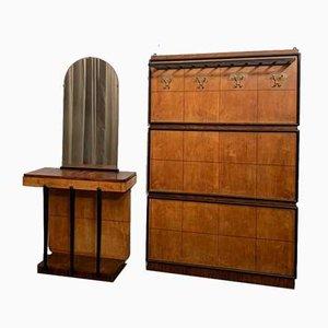 Portemanteau & Table Console en Palissandre et Érable avec Pièces en Métal Noirci et Miroir, 1930s, Set de 3