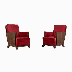 French Art Deco Lounge Chairs, 1930s, Set of 2