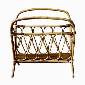 Mid-Century Bamboo and Rattan Magazine Rack, 1950s