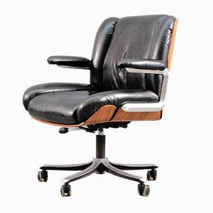 Vintage German Plywood & Aniline Leather Desk Chair, 1960s