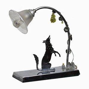Lámpara de mesa Fox Art Déco de WL Paris, años 20