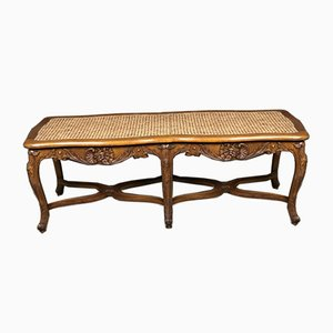 Vintage Louis XV Style Carved Cane Bench