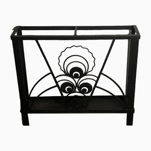 Art Deco Black Wrought Iron Umbrella Holder, 1920s