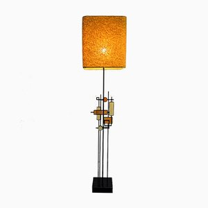 Mid-Century Danish Modern Wrought Iron & Glass Floor Lamp by Svend Aage Holm Sørensen