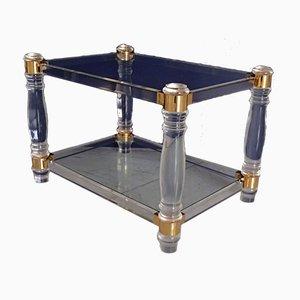 Vintage Plexiglas, Brass and Glass Side Tables, Set of 2