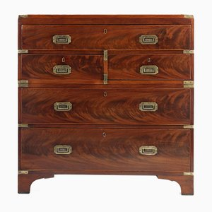 Mahogany Military Campaign Chest with Secretaire, Circa 1860