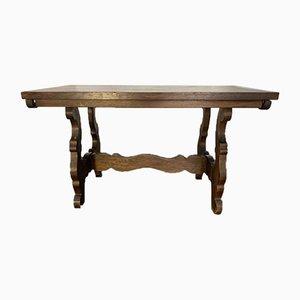 Tavolo da pranzo Fratino allungabile in legno di castagno, anni '70