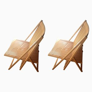 Vintage French Foldable Rocking Chair with Footrest, Set of 2