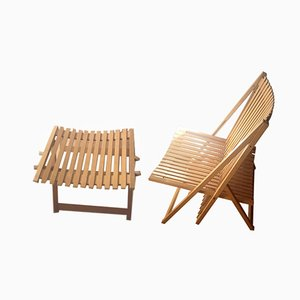 Vintage French Foldable Rocking Chair with Footrest Set