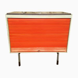 Orange & Grey Industrial Cabinet with Tambour Door from Strafor, 1970s