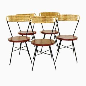 Schwedische Metall & Rattan Esszimmerstühle, 1950er, 5er Set