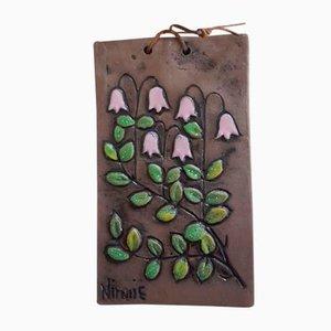 Florale schwedische Keramik Wanddekoration von Ninnie Charlotta Forsgren für Ateljé Ninnie Keramik AB, 1970er