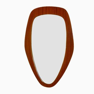 Swedish Teak Pebble Mirror, 1950s