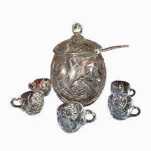 Vaso in cristallo intagliato a mano con 5 tazze, anni '70, set di 8