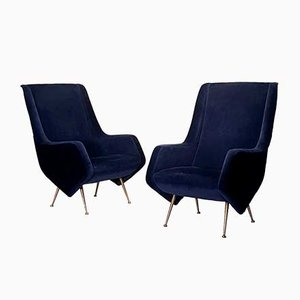 Italian Night Blue Armchairs by Aldo Morbelli for ISA Bergamo, 1950s, Set of 2