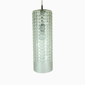 Large Cylindrical Bubble Glass Ceiling Lamp by Rolf Krüger for Staff, 1960s