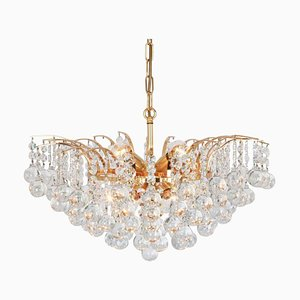 Large Crystal Glass Chandelier by Christoph Palme, Germany, 1970s