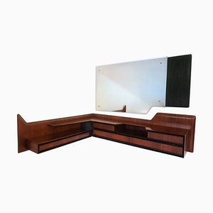 Mid-Century Italian Wall Mounted Angular Console Table with Mirror by Vittorio Dassi for Dassi Mobili Moderni, 1950s