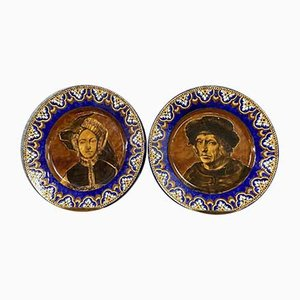 Large Round Flat Earthenware Portraits, Set of 2