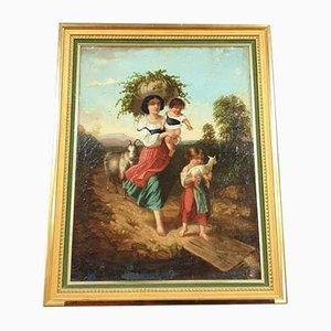 Öl auf Leinwand, Bauernszene, 19. Jahrhundert