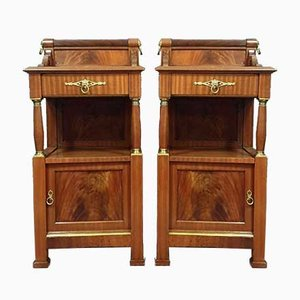 Empire Mahogany and Gilt Brass Nightstands, Set of 2