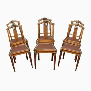 Art Deco Mahogany Dining Chairs with Silver Decorations, 1920s, Set of 6