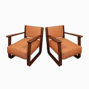 Vintage Armlehnstühle aus Eiche & Leder, 1930er, 2er Set