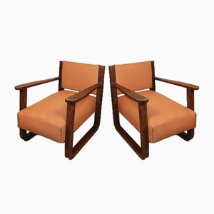 Vintage Oak & Leather Armchairs, 1930s, Set of 2