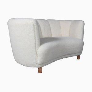 Sofá danés de dos plazas de sofá y lana de cordero, años 40