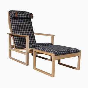 2254 Oak Sled Lounge Chair and Ottoman by Borge Mogensen, 1956, Denmark, Set of 2