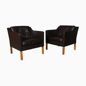 Model 2421 Brown Leather Lounge Chairs by Børge Mogensen, Set of 2