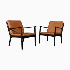 Model PJ112 Lounge Chairs in Rosewood by Poul Jeppesen, Set of 2