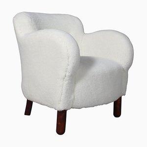 Danish Lounge Chair in Lamb Wool, 1940s