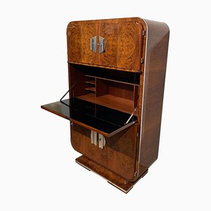French Art Deco Secretaire in Walnut Veneer and Nickel, 1930s