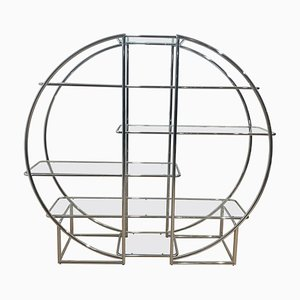 Art Deco Bauhaus Style Shelf in Chromed Steel and Glass, 1950s
