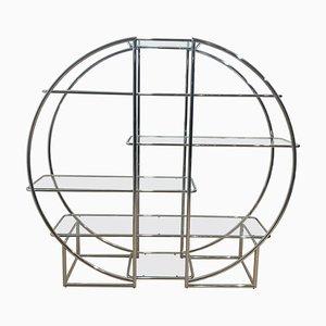 Estantería estilo Bauhaus Art Déco de vidrio y acero cromado, años 50